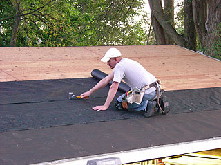 By Stapling The 6-inch Starter Strip At The Bottom Section Of Roof Leaving A 1-inch Overhang On The Eave To Ensure Drainage Into The Gutters Start.